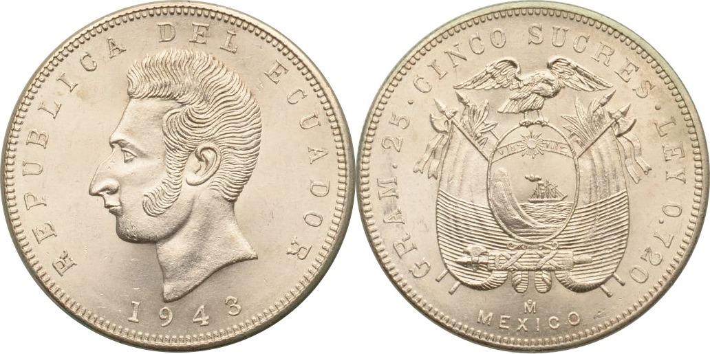 5 Sucres 1943 Ecuador st