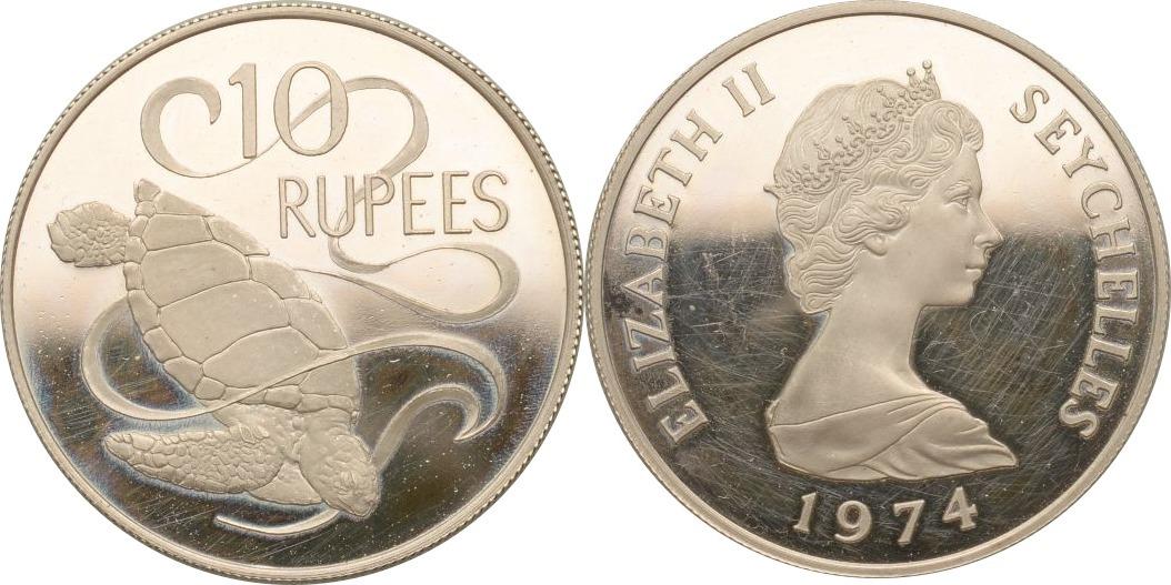 10 Rupees 1974 Seychellen Suppenschildkröte PP, leicht ber.