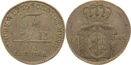 6 Kreuzer 1805 Württemberg vz-st
