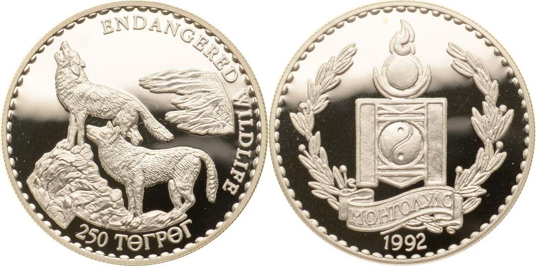 250 Tögrög 1992 Mongolei Zwei Mongolische Wölfe PP