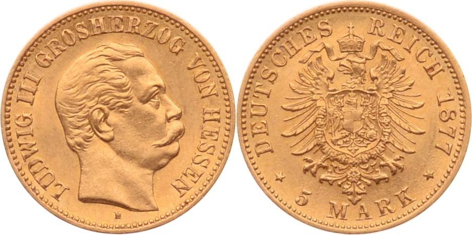 5 Mark 1877 H Kaiserreich - Hessen Ludwig III. vz