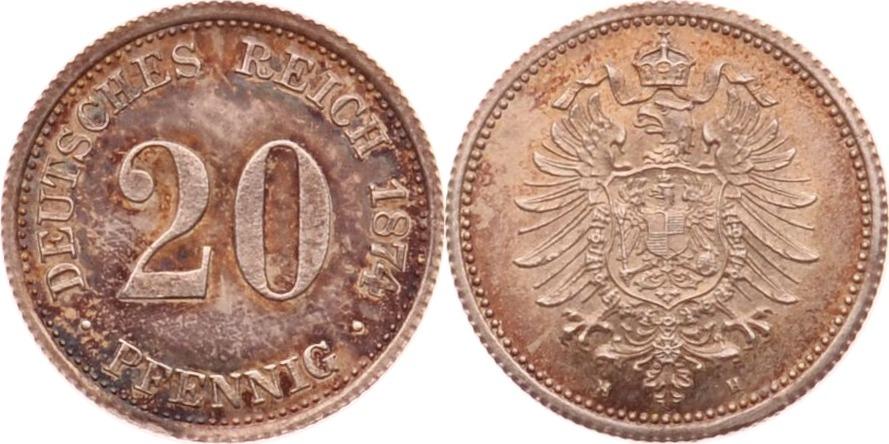 20 Pfennig 1874 H Kaiserreich fast st