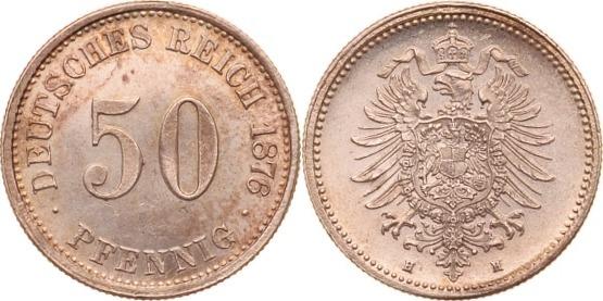 50 Pfennig 1876 H Kaiserreich fast st
