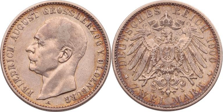 2 Mark 1900 Kaiserreich - Oldenburg Friedrich August ss+