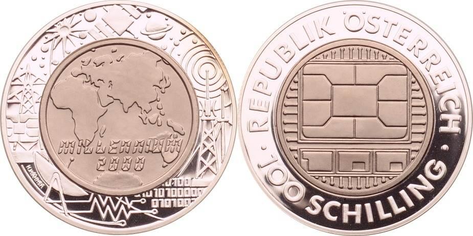 100 Schilling 2000 Österreich Millenium 2000 / Communications (Silber/Titan) PP