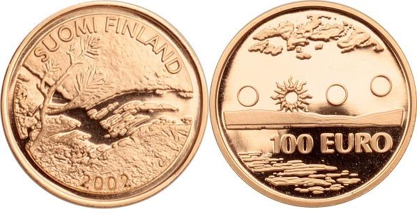 100 Euro 2002 Finnland Lappland, Wasserfall im Kiefernwald PP