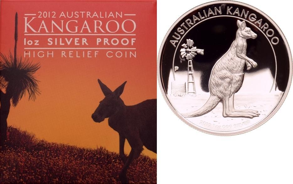 1 Dollar 2012 Australien Stehendes Känguru vor Windmühle PP, High Relief