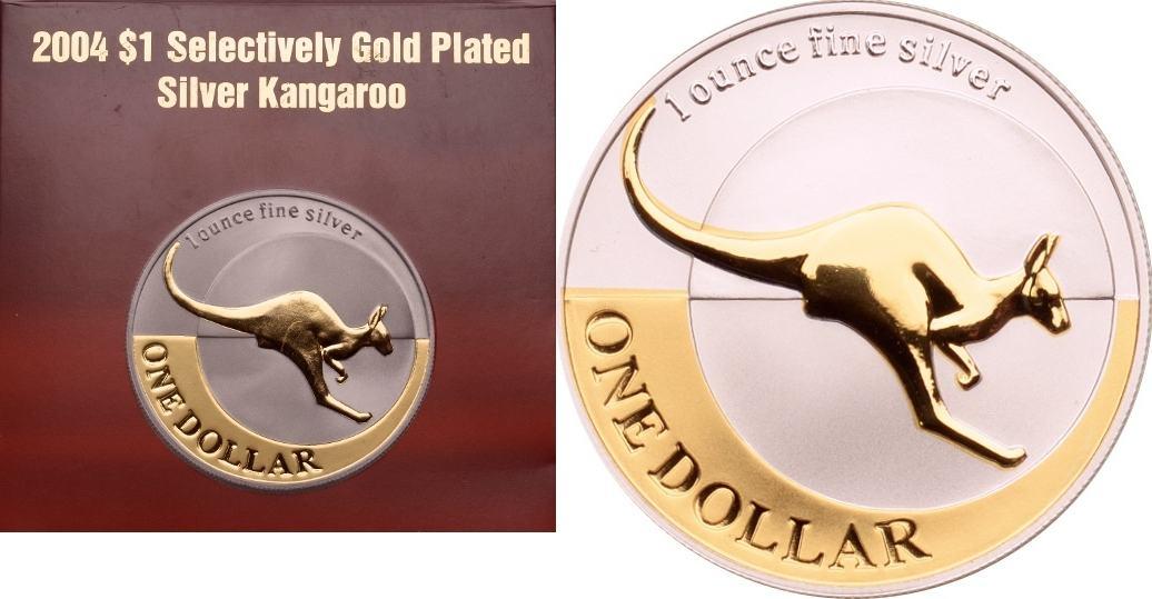 1 Dollar 2004 Australien Känguru PP, vergoldet