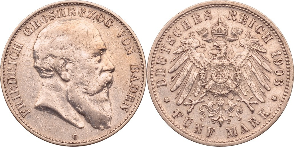 5 Mark 1903 Kaiserreich - Baden Friedrich I. ss