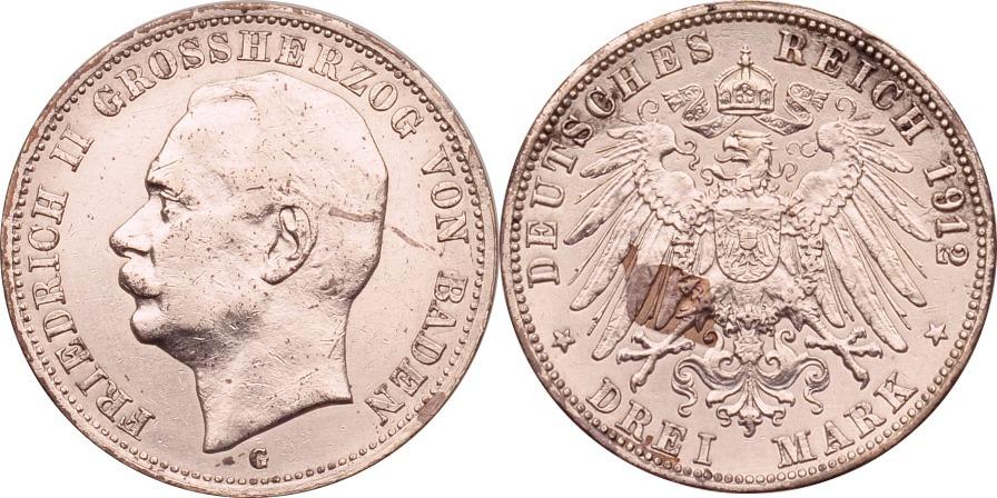 3 Mark 1912 Kaiserreich - Baden Friedrich II. ss/vz, stark berieben