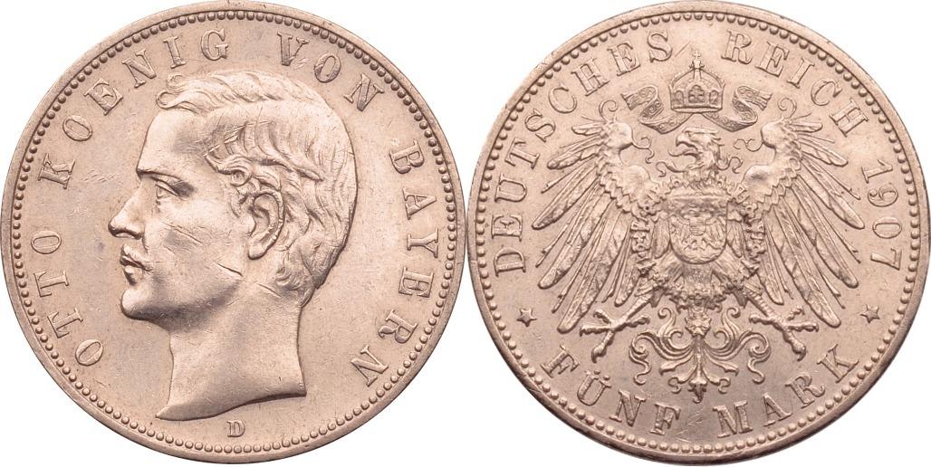 5 Mark 1907 Kaiserreich - Bayern Otto ss/vz