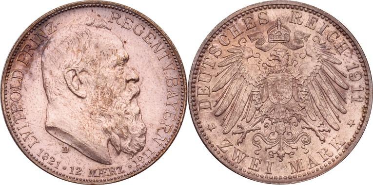 2 Mark 1911 Kaiserreich - Bayern Luitpold fast st, min. ber.