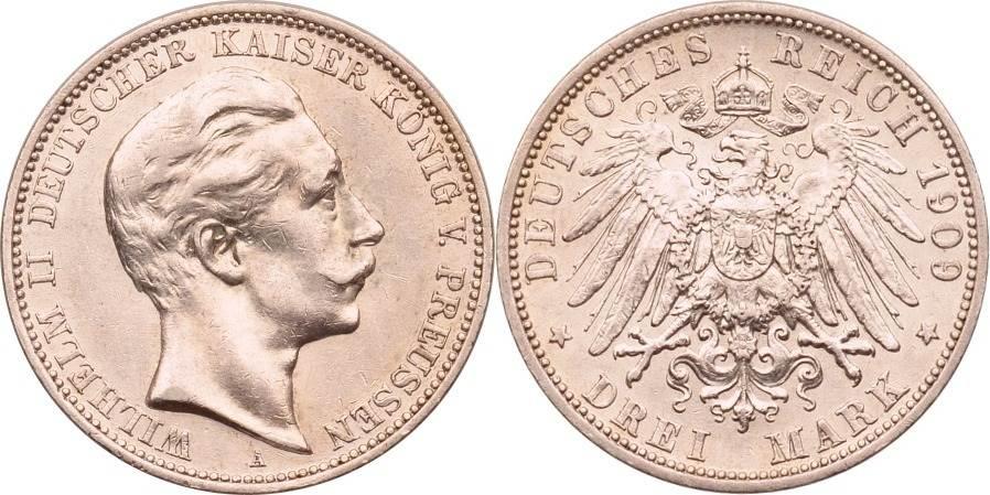 3 Mark 1909 Kaiserreich - Preussen Wilhelm II. vz