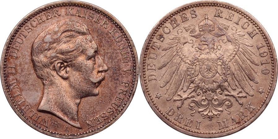 3 Mark 1910 Kaiserreich - Preussen Wilhelm II. vz+
