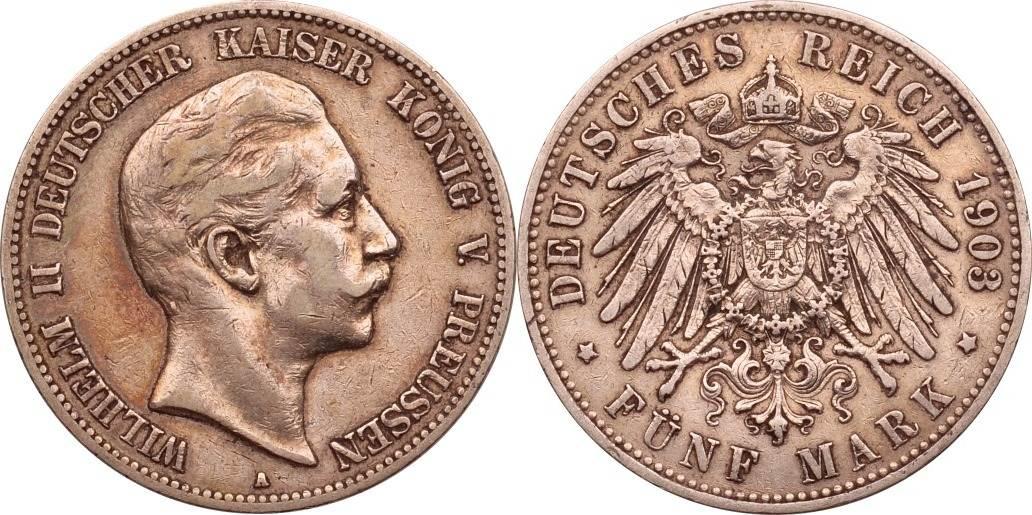 5 Mark 1903 Kaiserreich - Preussen Wilhelm II. ss