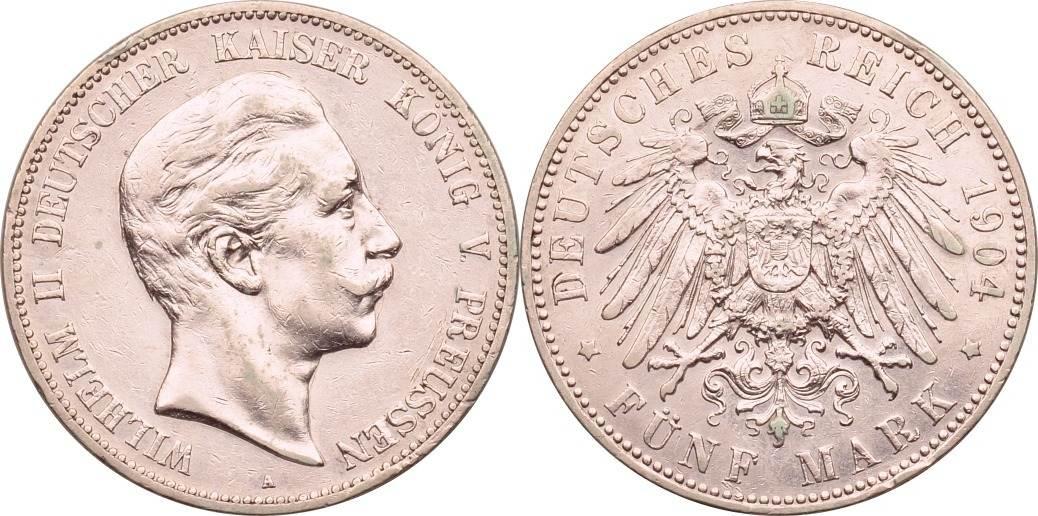 5 Mark 1904 Kaiserreich - Preussen Wilhelm II. ss, berieben
