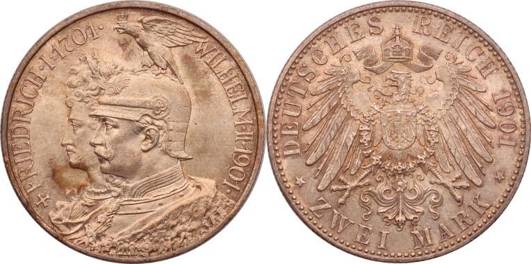 2 Mark 1901 Kaiserreich - Preussen 200 Jahre Königreich st, Patina
