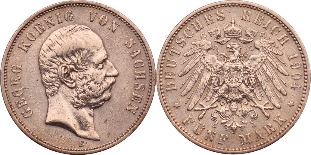 5 Mark 1904 Kaiserreich - Sachsen Georg ss