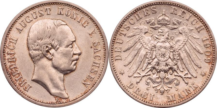 3 Mark 1909 Kaiserreich - Sachsen Friedrich August III. vz, kl. Rdf.