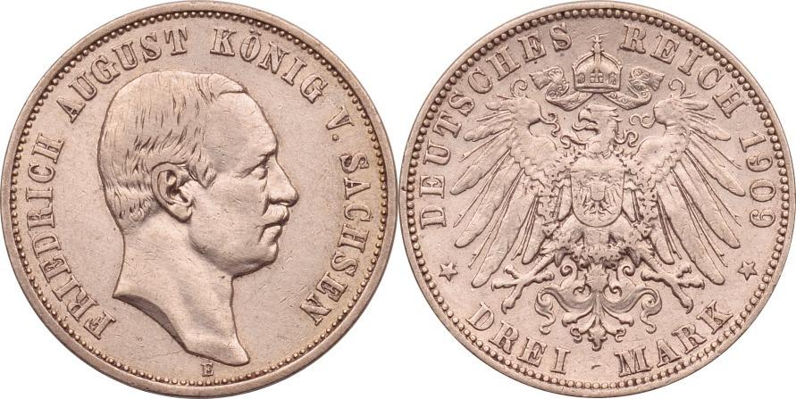 3 Mark 1909 Kaiserreich - Sachsen Friedrich August III. ss/vz, berieben
