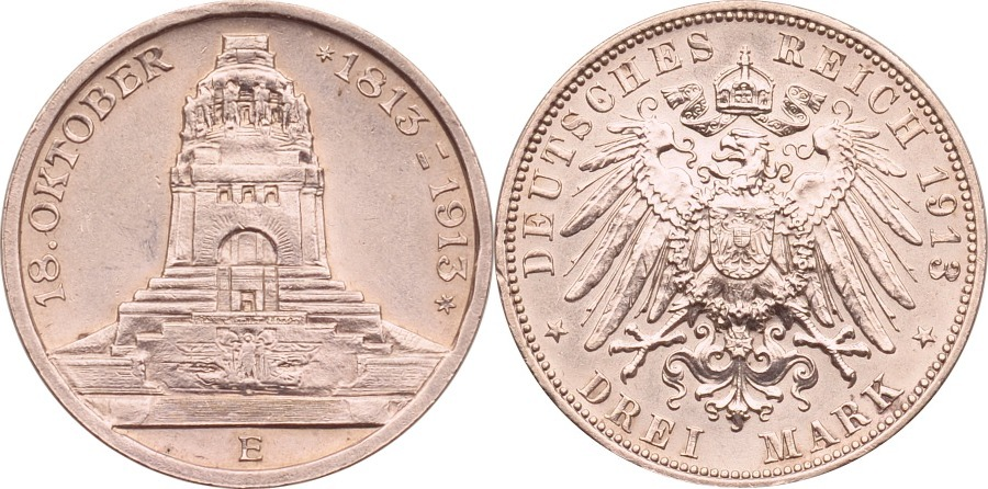 3 Mark 1913 Kaiserreich - Sachsen Völkerschlachtdenkmal fast st, kl. Rdf.