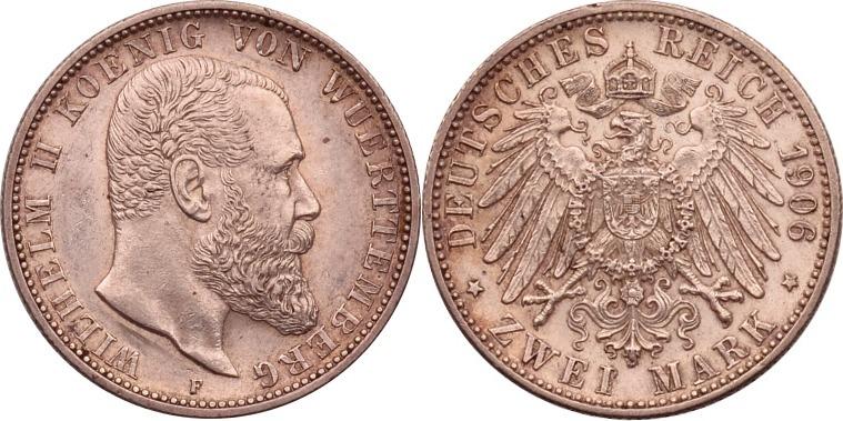 2 Mark 1906 Kaiserreich - Württemberg Wilhelm II. vz+, kl. Rdf.