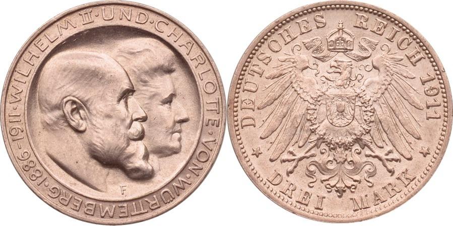 3 Mark 1911 Kaiserreich - Württemberg Silberhochzeit st