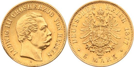 5 Mark 1877 Kaiserreich - Hessen Ludwig III. ss/vz
