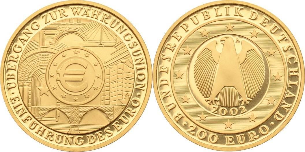 200 Euro 2002 A BRD Währungsunion - Einführung des Euro (inkl. Originaletui und Zertifikat) st