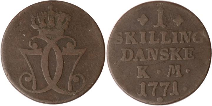 1 Skilling Danske 1771 Dänemark Dänemark, 1 Skilling Danske, 1771, s/ss s/ss