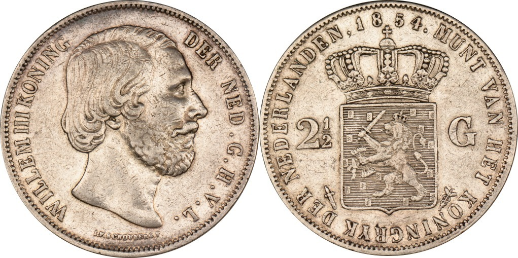 2 12 Gulden 1854 Niederlande Wilhelm Iii Ss Ma Shops