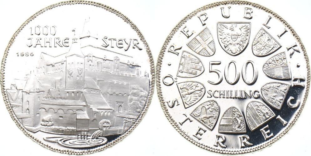 500 Schilling 1980 österreich 1000 Jahre Steyr Pp In Kapsel Ma Shops