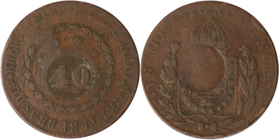 40 reis 1828 R (1835) Brasilien Brasilien, 40 Reis Gegenstempel, 1828 R (1835), ss ss