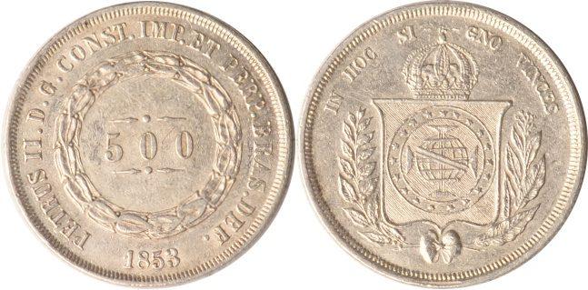 500 Reis 1853 Brasilien Brasilien, 500 Reis, 1853, vz vz