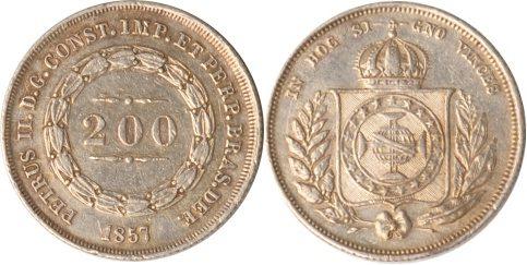 200 Reis 1857 Brasilien Brasilien, 200 Reis, 1857, vz vz