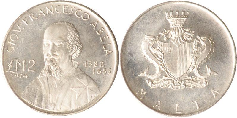 2 Pounds 1974 Malta Malta, 2 Pounds, Giovanni Francesco Abela, 1974, st st