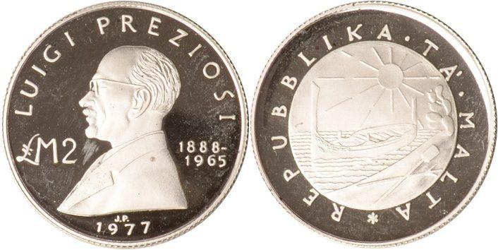2 Pounds^ 1977 Malta Malta, 2 Pounds, Luigi Preziosi, 1977, PP PP