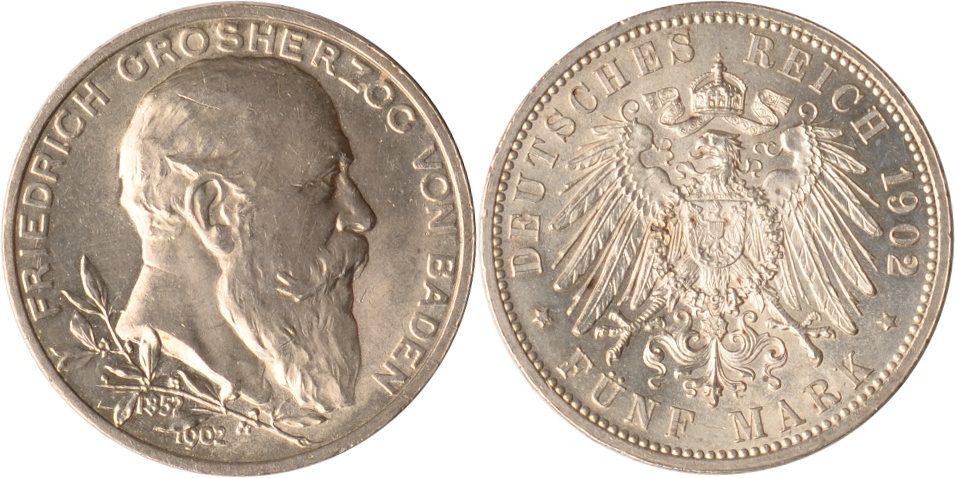 5 Mark 1902 Baden Baden, 5 Mark, Regierungsjubiläum, 1902, fast st fast st