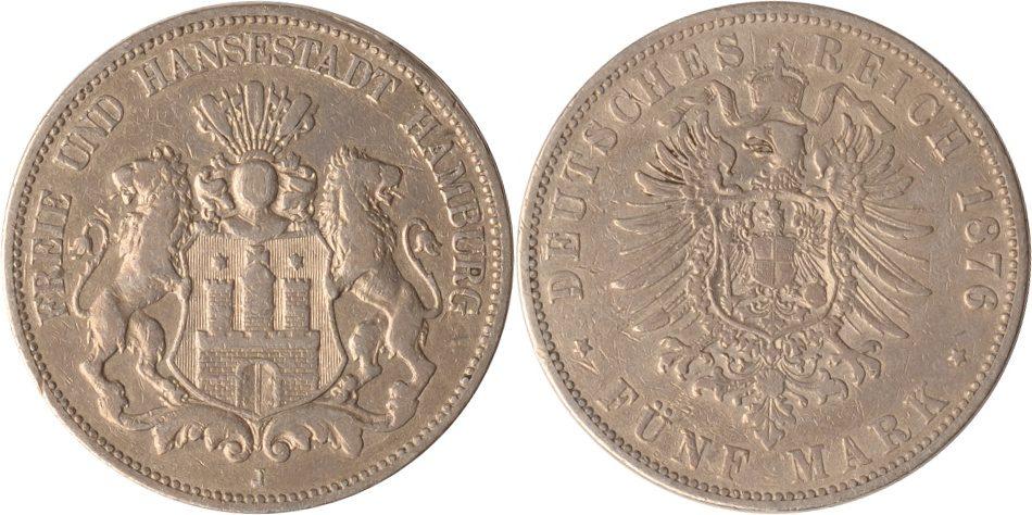 5 Mark 1876 Hamburg Hamburg, 5 Mark, Stadtwappen, 1876, ss ss