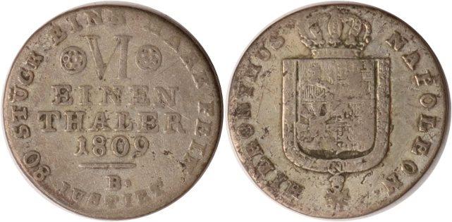 1/6 Taler 1809 B Westfalen Westfalen, 1/6 Taler, Hieronymus Napoleon, 1809 B, ss ss