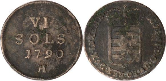 6 Sols 1790 H Luxemburg Luxemburg, 6 Sols, Leopold II., 1790 H, ss (schöne Patina) ss