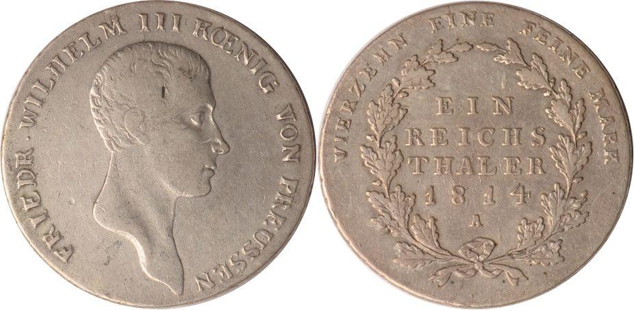 1 Taler 18014 A Brandenburg-Preussen Preussen, 1 Taler, Friedrich Wilhelm III., 1814 A, ss+ ss+