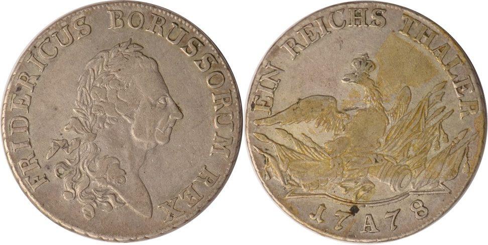 1 Taler 1778 A Brandenburg-Preussen Preussen, 1 Taler, Friedrich II., 1778 A, ss+ ss+