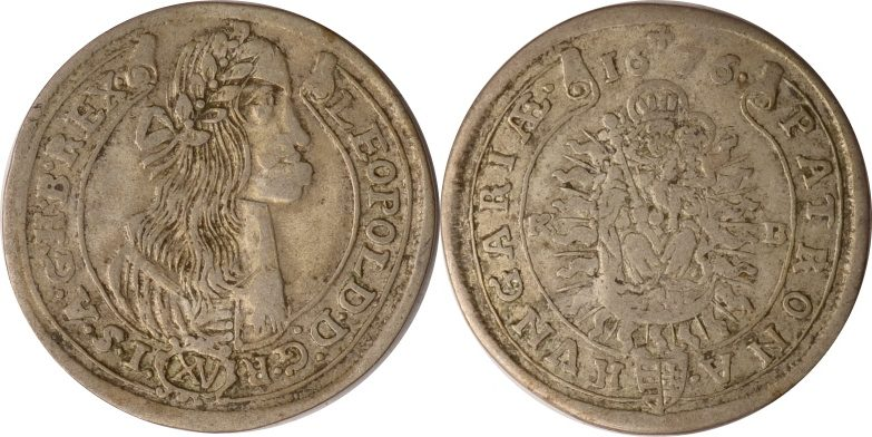 15 Krajczar 1676 KB Österreich-Ungarn Österreich-Ungarn, 15 Krajczar, Leopold I., 1676 KB, fast ss fast ss