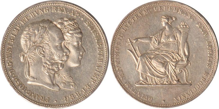 2 Gulden 1879 Österreich-Ungarn Österreich-Ungarn, 2 Gulden, 5. Hochzeitstag Franz I., 1879, ss/vz ss/vz