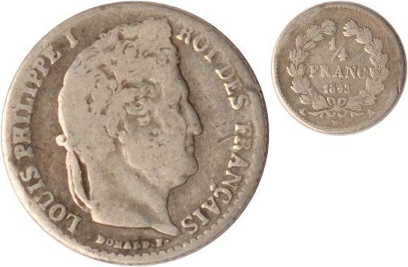 1/4 Franc 1843 A Frankreich Frankreich, 1/4 Franc, Louis Philippe I., 1843 A, s/ss s/ss