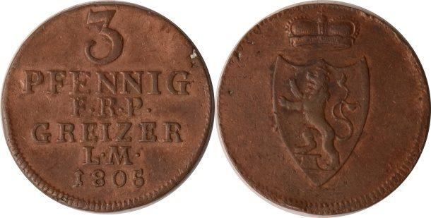 3 Pfennig 1805 Reuss, ältere Linie zu Obergreiz Reuss-Obergreiz, 3 Pfennig, Heinrich XIII., 1805, vz+ vz+