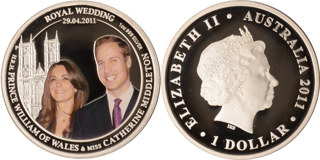 1 Dollar 2011 Australien Australien, 1 Dollar, Verlobung Prinz William/Kate Middleton, 2011, PP PP/Farbdruck