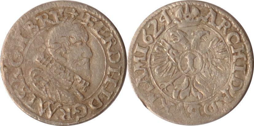1 Kreuzer 1624 CW Österreich, Haus Habsburg Habsburg, 1 Kreuzer, Ferdinand II., 1624 CW, ss ss