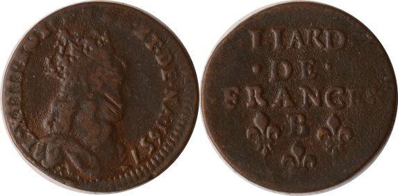 1 Liard 1657 B Frankreich Frankreich, 1 Liard, Louis XIV., 1657 B, s+ s+